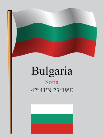 coordinates: bulgaria wavy flag and coordinates against gray background, vector art illustration, image contains transparency Illustration
