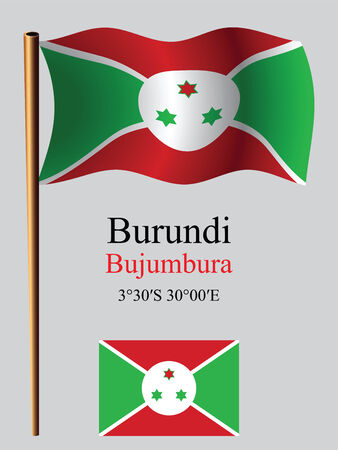 burundi wavy flag and coordinates against gray background, vector art illustration, image contains transparency