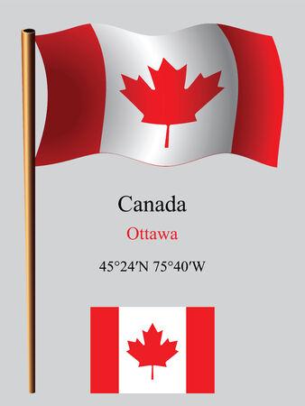 Canada drapeau onduleux et coordonnées sur le fond gris, vecteur art illustration, image contient de la transparence Banque d'images - 25502583
