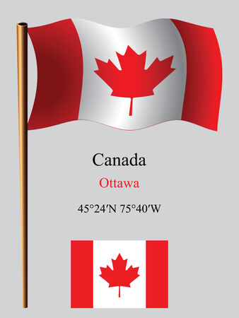 canada flag: canada wavy flag and coordinates against gray background, vector art illustration, image contains transparency
