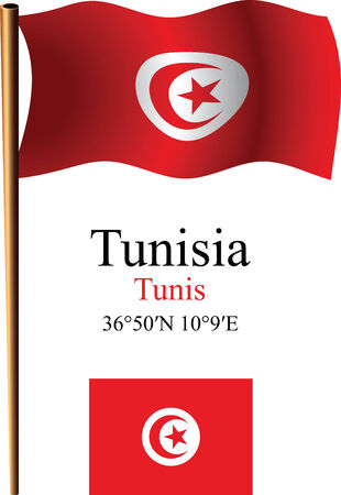 tunisia wavy flag and coordinates against white background, vector art illustration, image contains transparency Vector