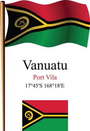 coordinates: vanuatu wavy flag and coordinates against white background, vector art illustration, image contains transparency Illustration
