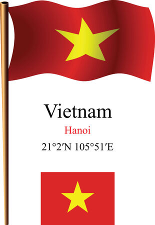 indochina peninsula: vietnam wavy flag and coordinates against white background, vector art illustration, image contains transparency