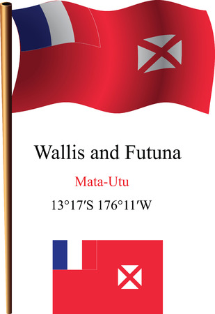 wallis: wallis and futuna wavy flag and coordinates against white background, vector art illustration, image contains transparency