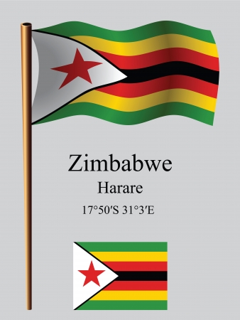 coordinates: zimbabwe wavy flag and coordinates against gray background, vector art illustration, image contains transparency Illustration