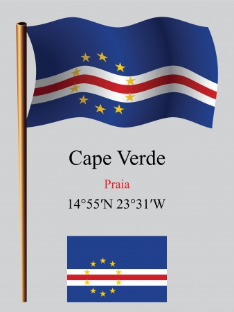 praia: cape verde wavy flag and coordinates against gray background, vector art illustration, image contains transparency Illustration
