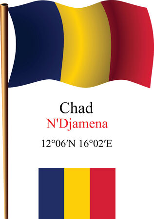 chad wavy flag and coordinates against white background, vector art illustration, image contains transparency Illustration