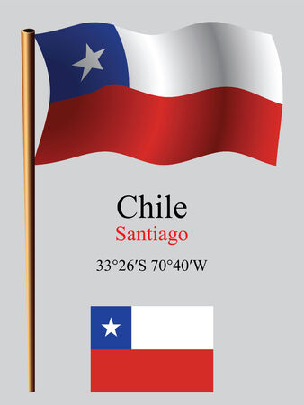 coordinates: chile wavy flag and coordinates against gray background, vector art illustration, image contains transparency Illustration