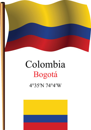 colombia wavy flag and coordinates against white background, vector art illustration, image contains transparency