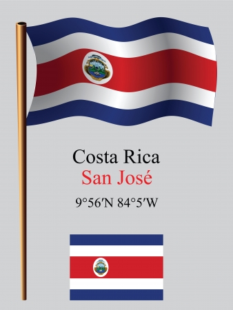 costa rica wavy flag and coordinates against gray background, vector art illustration, image contains transparency