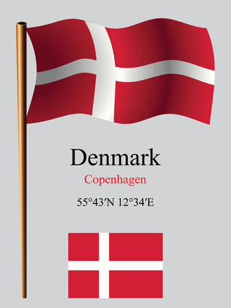 coordinates: denmark wavy flag and coordinates against gray background, vector art illustration, image contains transparency Illustration