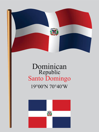 coordinates: dominican republic wavy flag and coordinates against gray background, vector art illustration, image contains transparency Illustration