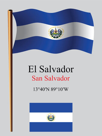 el salvador wavy flag and coordinates against gray background, vector art illustration, image contains transparency Çizim