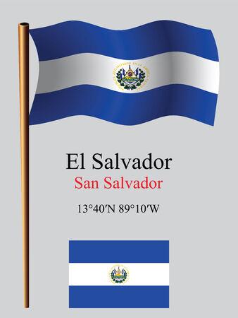 Salvador drapeau onduleux et coordonnées sur le fond gris, vecteur art illustration, image contient de la transparence Banque d'images - 25515835