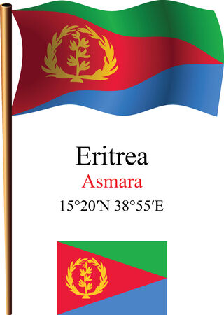 eritrea wavy flag and coordinates against white background, vector art illustration, image contains transparency Ilustracja