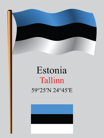 estonia wavy flag and coordinates against gray background, vector art illustration, image contains transparency