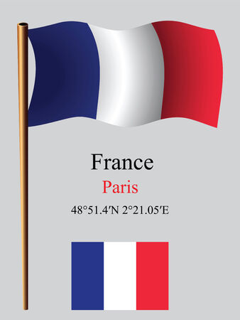 coordinates: france wavy flag and coordinates against gray background, vector art illustration, image contains transparency Illustration