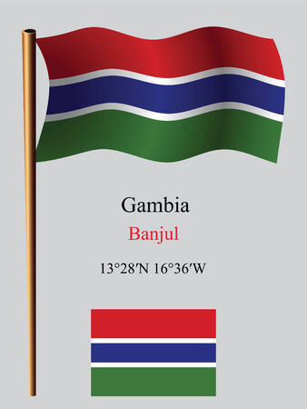 gambia wavy flag and coordinates against gray background, vector art illustration, image contains transparency