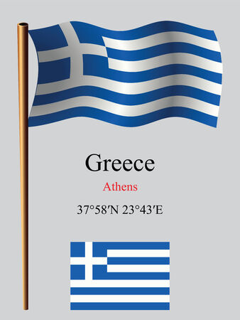 coordinates: greece wavy flag and coordinates against gray background, vector art illustration, image contains transparency Illustration