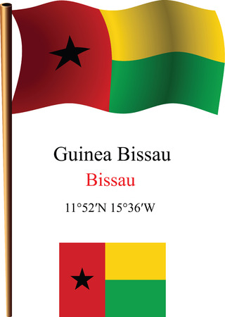 guinea bissau wavy flag and coordinates against white background, vector art illustration, image contains transparency Çizim