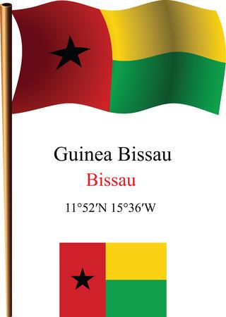 guinea bissau: guinea bissau wavy flag and coordinates against white background, vector art illustration, image contains transparency Illustration