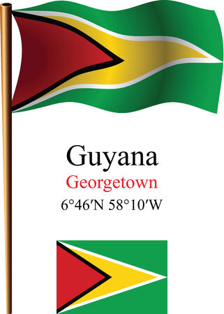 guyana wavy flag and coordinates against white background, vector art illustration, image contains transparency