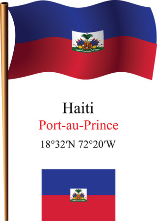 carribean: bandera y coordenadas contra el fondo blanco ondulado hait�, ilustraci�n de arte vectorial, la imagen contiene transparencias