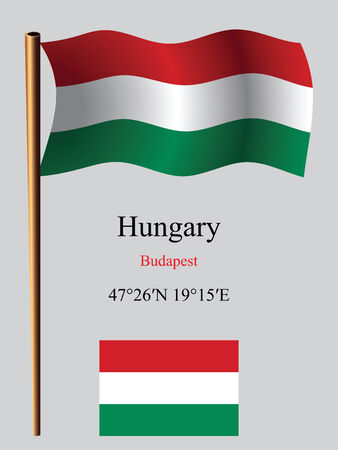 hungary wavy flag and coordinates against gray background, vector art illustration, image contains transparency Ilustracja