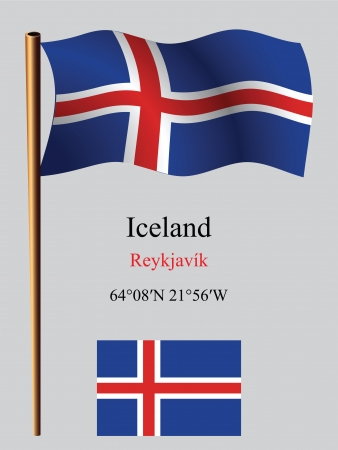 coordinates: iceland wavy flag and coordinates against gray background, vector art illustration, image contains transparency Illustration