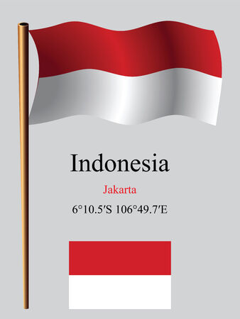indonesia wavy flag and coordinates against gray background, vector art illustration, image contains transparency