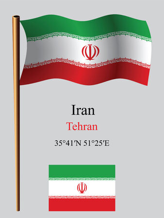 iran wavy flag and coordinates against gray background, vector art illustration, image contains transparency