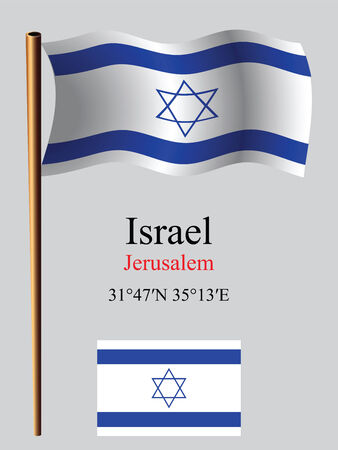 coordinates: israel wavy flag and coordinates against gray background, vector art illustration, image contains transparency Illustration
