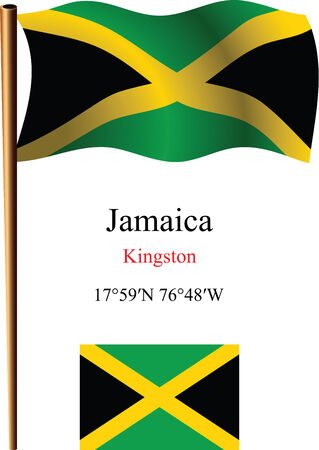 carribean: bandera y coordenadas contra el fondo blanco ondulado jamaica, ilustraci�n de arte vectorial, la imagen contiene transparencias