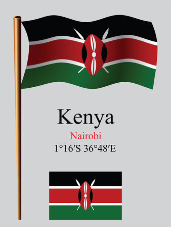 kenya wavy flag and coordinates against gray background, vector art illustration, image contains transparency