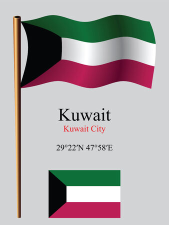 coordinates: kuwait wavy flag and coordinates against gray background, vector art illustration, image contains transparency Illustration