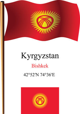 kyrgyzstan wavy flag and coordinates against white background, vector art illustration, image contains transparency