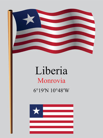 coordinates: liberia wavy flag and coordinates against gray background, vector art illustration, image contains transparency