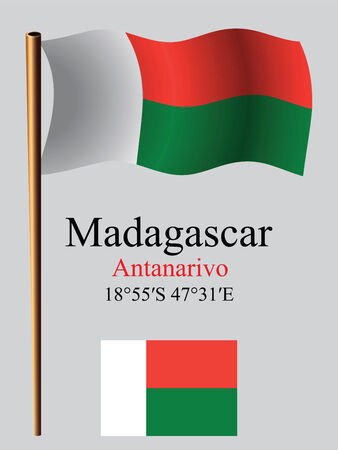 coordinates: madagascar wavy flag and coordinates against gray background, vector art illustration, image contains transparency Illustration