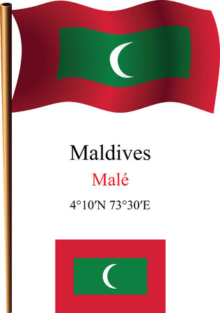 coordinates: maldives wavy flag and coordinates against white background, vector art illustration, image contains transparency