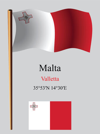 malta wavy flag and coordinates against gray background, vector art illustration, image contains transparency