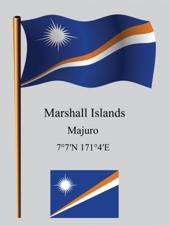 coordinates: marshall islands wavy flag and coordinates against gray background, vector art illustration, image contains transparency