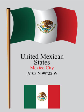 mexico wavy flag and coordinates against gray background, vector art illustration, image contains transparency