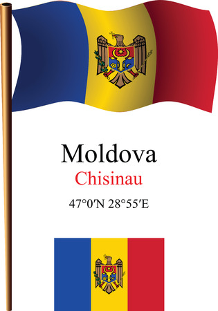moldova wavy flag and coordinates against white background, vector art illustration, image contains transparency