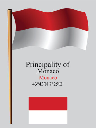 monaco wavy flag and coordinates against gray background, vector art illustration, image contains transparency