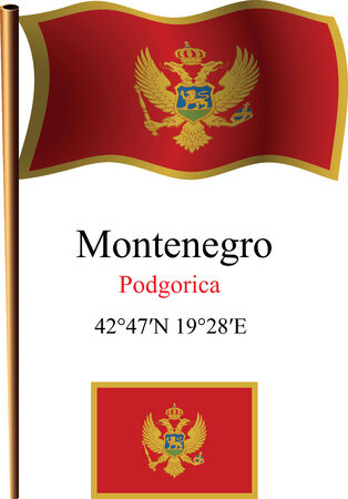 montenegro wavy flag and coordinates against white background, vector art illustration, image contains transparency Illustration