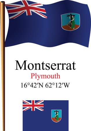 montserrat: montserrat wavy flag and coordinates against white background, vector art illustration, image contains transparency Illustration
