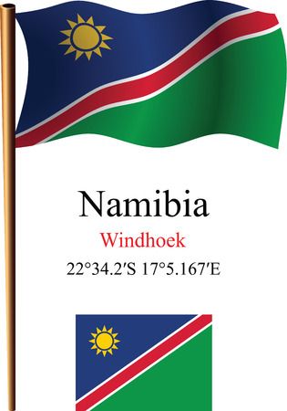 namibia wavy flag and coordinates against white background, vector art illustration, image contains transparency Çizim