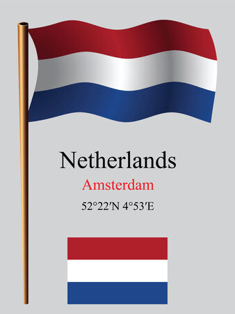 netherlands wavy flag and coordinates against gray background, vector art illustration, image contains transparency