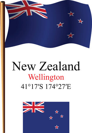 new zealand wavy flag and coordinates against white background, vector art illustration, image contains transparency