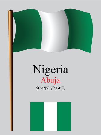 coordinates: nigeria wavy flag and coordinates against gray background, vector art illustration, image contains transparency